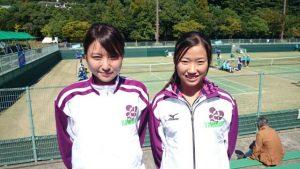 テニス競技 成年女子 本郷選手と久米次選手